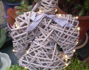Rustic Swedish Wicker Led Light Christmas door,wall hanging Angel,Battery operated.