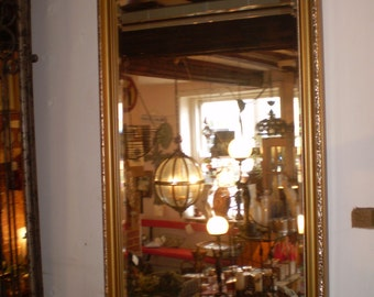 Vintage Danish Ornate Bevelled Edge Mirror in Lovely Condition