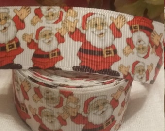 "3 yards, 1"" grosgrain Santa clause ribbon,"