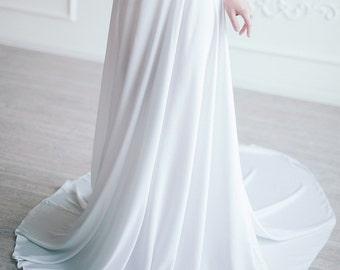 Wedding skirt \ Silk bridal skirt \ White maxi skirt \ Simple beach wedding separates \ bohemian bridal separates