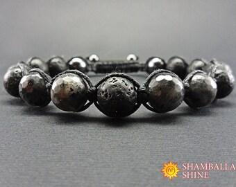 Black lava bracelet Meditation mens bracelet Lava men bracelet Mens bohemian jewelry Protection men bracelet Natural lava gemstone