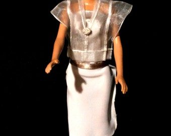 Full evening dress for Barbie. Cream silk skirt with taffeta vests transparent. Taupe satin bodice.