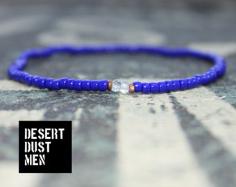 Men's slim navy blue bracelet with Sky blue topaz and copper artisan spacers (2,5 mm seed bead/3,5 mm faceted stone)