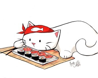 "Sushi Kitty Print 4x6"" Japanese Cat Art Gift for Nerds Geeks and Gamers"