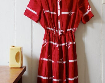Vintage 1980's red sailor dress - Medium