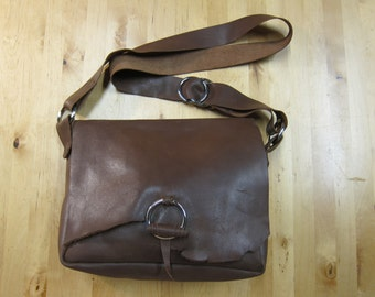 BagNo2 - Hand stitched brown leather bag, cross body, OOAK