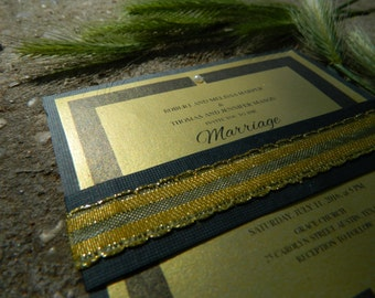 Handmade Gold/Black wedding invitation