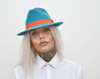 Velour Felt Turquoise Women's Fedora with Orange Ribbon