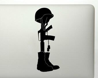 Battlefield memorial fallen soldier cross die cut vinyl decal sticker for car windows, laptops, toolbox, etc