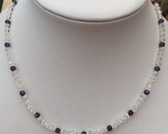Clear and plum crystal necklace