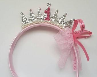 Birthday crown. First Birthday Girl crown. First Birthday Girl Tiara. Birthday Tiara. Photo Prop. Baby Shower Gift. Birthday tiara headband.
