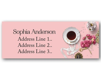 Set of 30 Personalized Return Address Vintage tea cup Flowers cute design