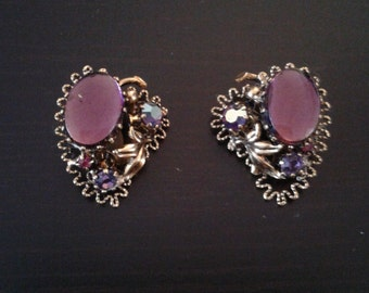 Mauve purple stone earrings