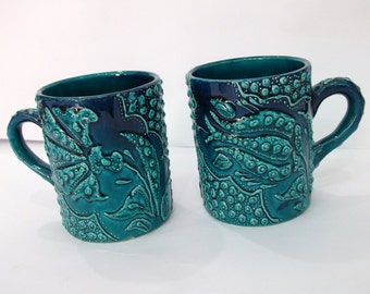 Coffee mugs, set of two coffee cups, pair of coffee cups, handmade mugs, ceramic mugs, handmade ceramic, pottery mugs, handmade pottery
