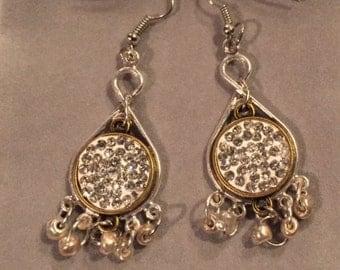 White on white beaded earrings