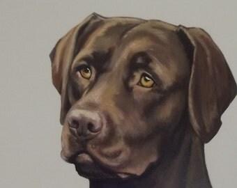 Chocolate Labrador painting.