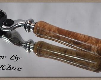 712 Handmade Maple Burl Wood Gillette Mach 3 Fusion Double Edge Safety Shaving Razor