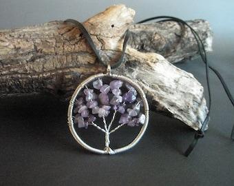 Amethyst tree of life pendant on leather
