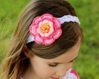 Flower Headband, Crochet headband, Crochet flower, Photo Prop, Flower Girl Headband