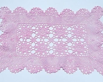 Large Pink Rectangle Doily