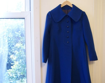 Vintage 60s Electric Blue Mod Baby Doll Coat with Peter Pan Collar