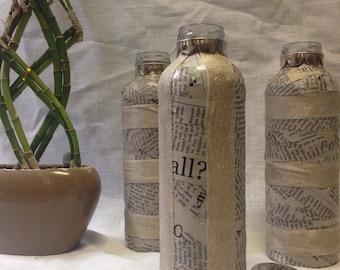 Gold Striped Newspaper Vases