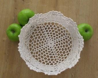 Hand Crocheted White Doily Bowl Home Decor| Doily Bowl |  Doily | Doily Basket | Crochet Basket, Crochet Bowl | Handmade Basket, Gift Basket