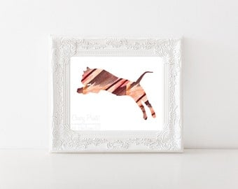 Watercolor Leaping Tiger Print
