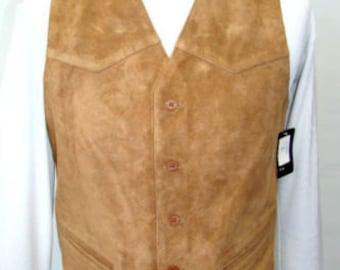 Vintage Authentic Cowhide  Suede Leather Vest Coats for Men