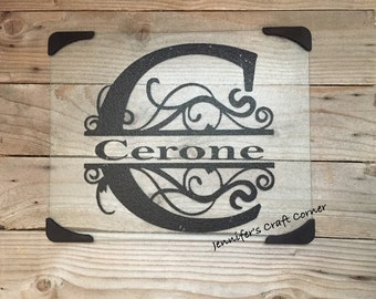 Glass Cutting Board, Personalized Gifts, Name Sign, Wedding Gift, Christmas Gift, Housewarming, Co Worker, Established Sign, Name Plaque