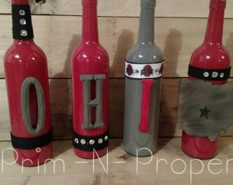 Handpainted painted Scarlet and Gray OHIO wine bottles.