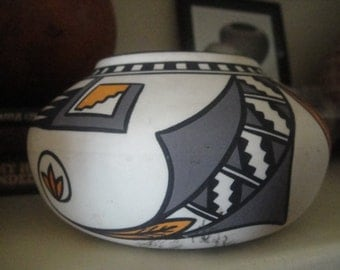 Hand turned and Hand painted signed Pueblo bowl