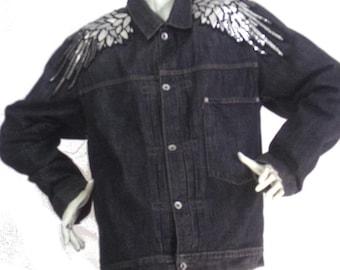 jean jacket winged Pattern Sequins Size M Brand Levi's