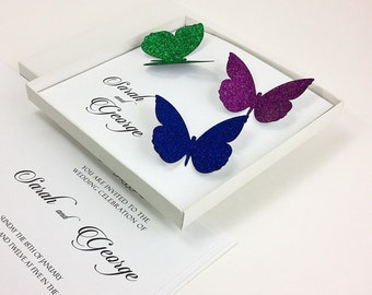 Butterfly Wedding Invitations, Butterfly Boxed Wedding Invitation, Silvery Wedding Invitations, Boxed Wedding Invitation, 1 INVITATION