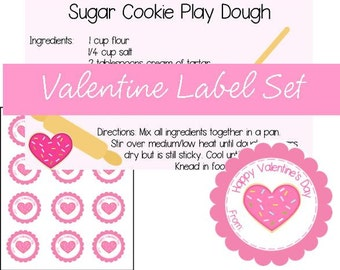 Printable Sugar Cookie Valentine Play Dough Label