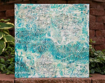 18 x 18 Fearfully and  Wonderfully Made Turquoise Original Encaustic Painting