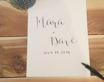 Custom Wedding Sign | Calligraphy Wedding Sign | Custom Calligraphy Names Sign