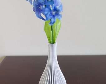 3D Printed Vase - White - Tall Fluted Design - Accent Piece
