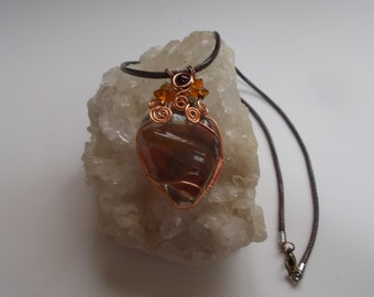 Amber Fused Glass Copper Wire Wrap Necklace