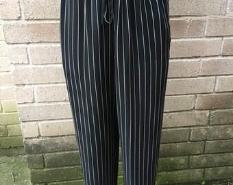 90's Black and White Stripe Pants SzS