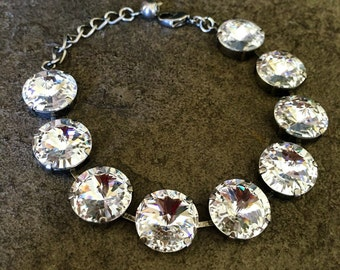 CRYSTAL CLEAR 14mm Swarovski crystal bracelet in a silver setting