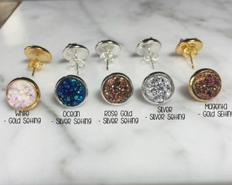 Druzy Earrings, Faux Druzy Earrings, Bridesmaid Gift, Druzy Stud Earrings, Druzy Faux Earrings, Bridesmaid Jewelry,