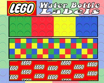 Lego Water Bottle Labels- INSTANT DOWNLOAD!!!