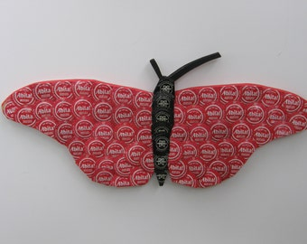 Red butterfly with Abita and Breckenridge beer bottle caps
