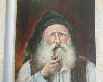 Old man with pipe - oil on wood