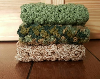 Crochet Washcloths, dishcloth. Set of 3. Handmade and eco friendy. Earthy colors.
