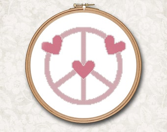 Pink Peace Sign with Hearts Counted Cross Stitch Pattern - PDF Digital Download