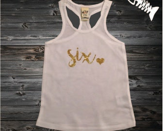 6 Year old Birthday Shirt Girl Six year old Birthday outfit racerback tank shirt 6th Birthday