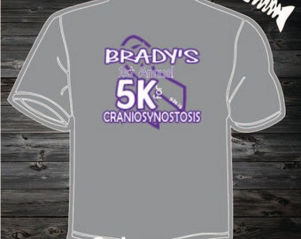 Bradys Craniosynostosis 5k Shirt. First Annual 5K for Craniosynostosis.