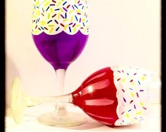 Hand Painted Wine Glasses, Birthday Wine Glasses, Personalized Wine Glasses, Birthday Gifts for Her, Custom Wine Glasses, Birthday Gift
